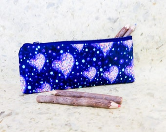 Liberty Cosmic Hearts Pouch, Zipper Pencil Pouch, Pencil Case, Coin Purse, Fabric Pouch, Valentine Pouch, Liberty of London Fabric Pouch