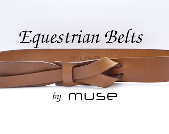 Equestrian Muse Leather Belt in Dark Camel 1 1/2 and 1 1/4   Nickel-Free