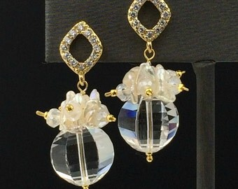 Clear Crystal Quartz Keishi Pearl Cluster Bridal Earrings 14kt Gold Filled Wire Wrapped Mystic Quartz Pave CZ Gold Post Earrings