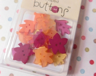 Sale - Doodlebug Fall Autumn Leaf Shaped Buttons