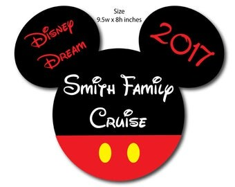 Ships Between July 15-20 Handmade Disney Inspired Large Classic Mickey Family Magnet for Disney Cruise