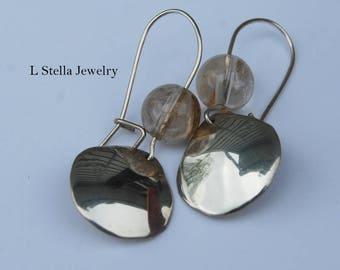 Earrings Teardrop Rutilated quartz or Moss agate green bead dangle shinny drop