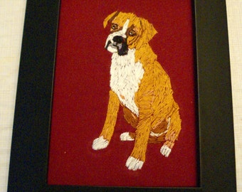 Boxer Dog Portrait, Hand Embroidered, Framed
