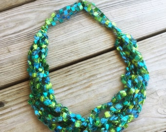 Seascape Ladder Yarn Necklace/Jewelry/Crocheted Ribbon Necklace/Necklace/Fiber Jewelry/Jewelry/Ladder Necklace/Boho/Crochet/Crochet Jewelry