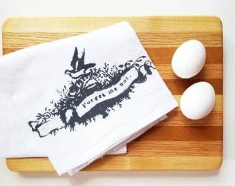 Gray Bird Tea Towel Cotton Flour Sack Towel Kitchen Cottage Decor Rustic Housewarming Teacher Gift under 10 Dollars Nashville Tennessee