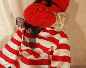 Retro Pirate Sock Monkey.  Head Scarf, Striped Top, Black Pants and Pirate Eye Patch~  LIMITED EDITION by auntyanndesigns