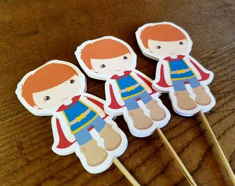 Snow White Party - Set of 12 Prince Cupcake Toppers by The Birthday House