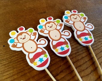 Big Top Circus Party - Set of 12 Circus Monkey Cupcake Toppers by The Birthday House