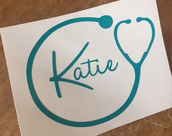 Nurse name  decal, car decal, stethoscope  decal, computer case decal, yeti decal, water bottle decal