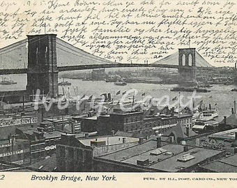 Brooklyn Bridge New York Vintage Postcard. Digital, Download, Handwriting, post, travel, letter, America, transfer, art, scrip15/p2/eaugt,