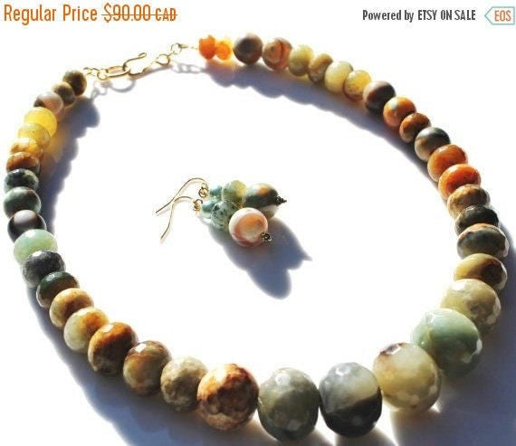 ON SALE Earthy Jade and India Agate Semi precious stone handmade necklace with earrings