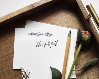 Custom Letterpress Stationery, Flat Note Cards, Black Ink