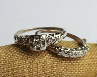 Vintage Diamond Engagement Wedding Ring Set 14K White Gold Bridal Ring Set Size 5 1/4