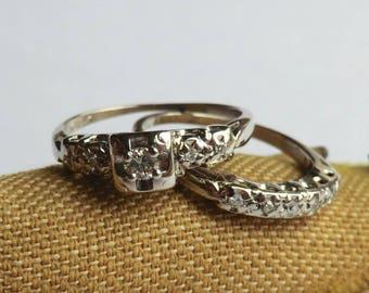 vintage diamond engagement wedding ring set 14k white gold bridal ring set size 5 1 - Vintage Wedding Rings Sets