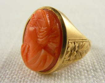 Antique 10K Carved Coral Cameo Engraved Band Size 6