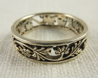 Vintage Sterling Floral Ring Size 10.75