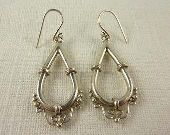 Vintage Sterling Tear Drop Hook Earrings