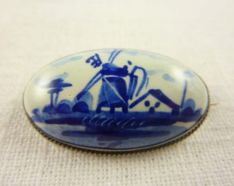 Vintage Sterling Dutch Delft Tile Brooch