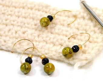 Removable Crochet Stitch Markers, Beaded, Mustard Yellow, Green, Black