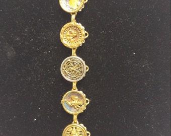 Vintage Metal Button Bracelet Cherubs, Angels #B238