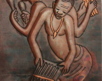 """African Copper Relief Art Three Tribal Musicians 8""""H X 5.5""""W Vintage Handcrafted in the Congo"""