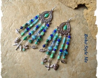 Boho Chandelier Earrings, Birds and Bee Assemblage Earrings, Turquoise and Blue Dangle Earrings, BohoStyleMe, Kaye Kraus