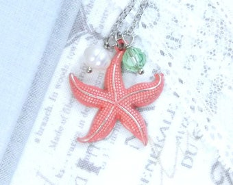 Coral Starfish Necklace Ocean Pendant Necklace Nautical Jewelry Beach Necklace Starfish Gift