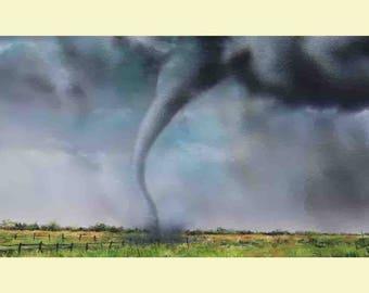 """Tornado Painting 8"""" x 16"""" Storm Clouds Twister Tornado Landscape Art Contemporary Modern Wall Art"""