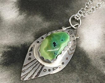 Odin's Eye etched sterling silver double-sided pendant with turquoise