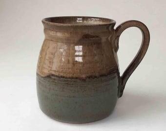 SHIPS FAST Handmade Coffee Mug in Browns and Blue Gray, 2 Cup Mug Ceramic Mug, Birthday Gift, Kitchen Coffee Mug