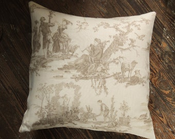 Floral and toile coordinating linen cotton romantic french country home decor decorative pillow covers