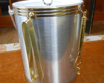 I80's Ice Bucket - Brushed Metallic Silver/Gold Bands - Lucite Handle and Lid - Brass Handle - White Interior