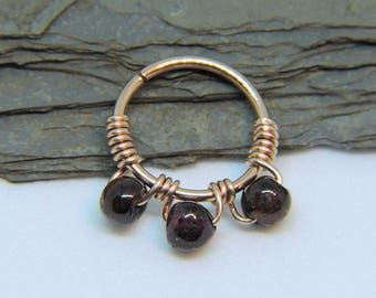 """Nose Ring - Seamless Hoop GARNET Nose or Ear Jewelry - 18G or 16G or 14G 5/16"""" 3/8"""" Sterling Silver 14K Rose or Yellow Gold Fill Septum Ring"""