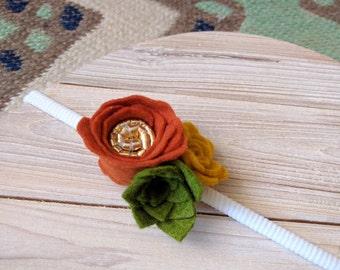 Autumn Bloom Headband | Felt Flowers, felt succulent
