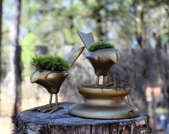 Gold Bird moss planter-Crackled gold bird-choose pillow or mood moss-Live moss planter
