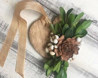 Botanical Gift Tag, preserved, natural, wood tag