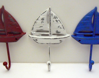 Sailboat Cast Iron Wall Hook Set of 3 Shabby Chic Red White Blue Beach Patriotic Decor