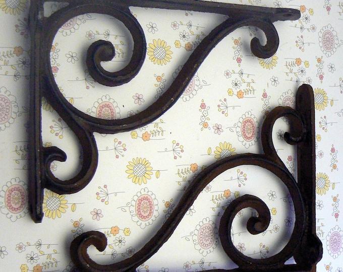 Shelf Bracket Cast Iron Corbel Style Unpainted  Brace DIY Home Improvement 1 Pair
