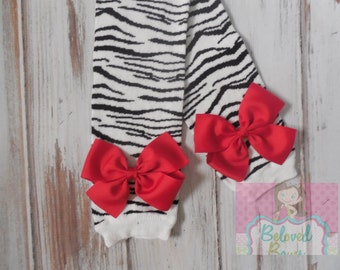 SALE--LIMITED SUPPLY--Zebra Print Leg Warmers with Red Bows for Baby Toddler Girl--Baby Girl Leg Warmers--Baby Shower Gift