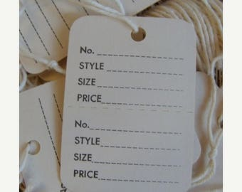 ON SALE Vintage String Tags One Dozen 1960s