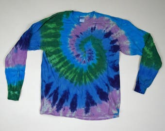 Springtime Spiral Tie Dye T-Shirt (Gildan Heavy Cotton Longsleeve Size L) (One of a Kind)