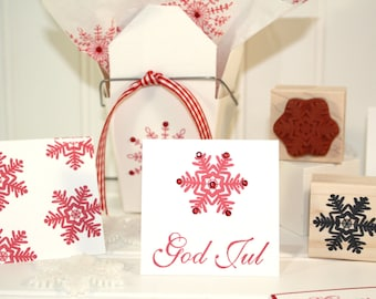 SNOWFLAKE Rubber Stamp~Bold Christmas Snowflake for DIY Holiday Crafting and Card Making~Wood Mounted Stamp by Mountainside Crafts (29-03)