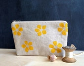 yellow petal hand printed linen standing zip pouch
