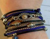 Multistrand Leather Wrap Bracelet - Protection Bracelet - Evil Eye Cuff - Multistrand Cuff Bracelet - Burningman Style - Cobalt Blue Beads