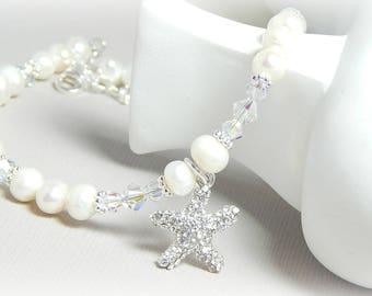 Starfish Anklet, Swarovski Crystal Anklet, Pearl Anklet, Bridal Anklet, Beach Anklet, Sterling Silver Anklet, Adjustable Anklet for Women