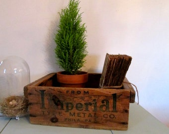 Antique Wooden Shipping Crate/ Imperial Metal Type Co., Phila., PA./Rustic/Industrial/ Home Decor/Storage/Prop