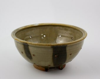 Handmade Wood-Fired Pottery Ceramic Berry Bowl or Colander