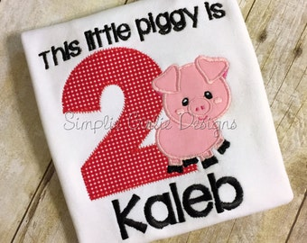 Custom pig birthday shirt or bodysuit. Farm birthday. Little Piggy birthday. Personalized. Will customize to match party colors.