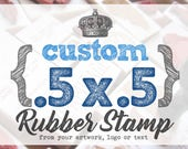 Small .5 x .5 inch - YOUR CUSTOM DESIGN - Art Wood Mounted Rubber Stamp - Perfect for Logo, Branding, Packaging, Party, Wedding Favors
