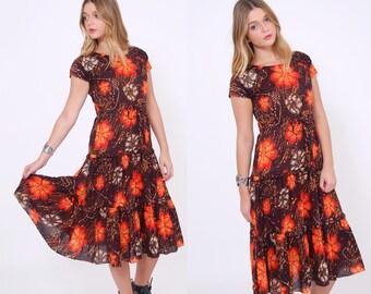 Vintage 70s BATIK Floral Dress TROPICAL Flower Print Dress Ethnic Boho Summer Dress